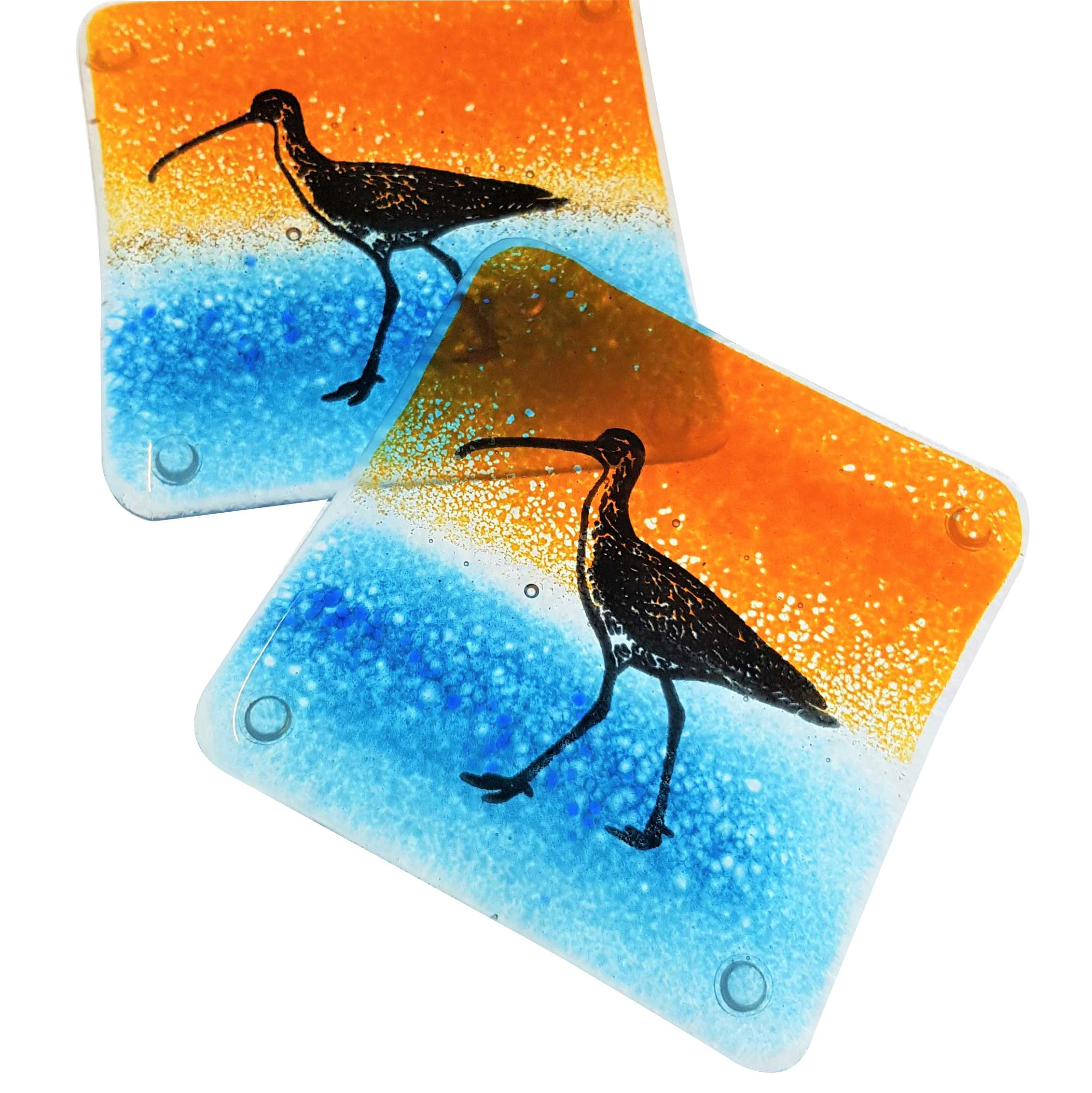 handmade glass coasters with a screen printed curlew. Black Bedroom Furniture Sets. Home Design Ideas