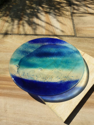 Glass Art Bowl Ocean made by Elisa Mott.