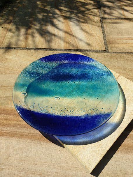 Glass Art Bowl Ocean made by Elisa Mott.